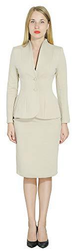 - Marycrafts Women's Formal Office Business Work Jacket Skirt Suit Set 12 Milk