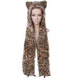 Leopard Hood Plush Animal Hat with Long Black Mittens - Leopard Hood