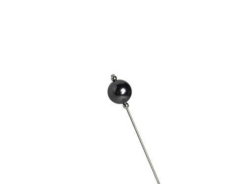 RetroGem 12mm Black Swarovski Element Pearl Silver Tone Hat - Hat Silver Pin