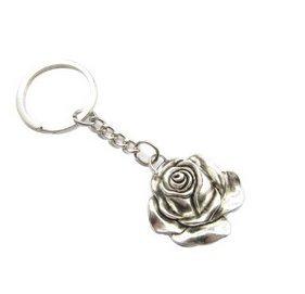 Ancient plata rosa llavero, diseño de flores, flores de ...