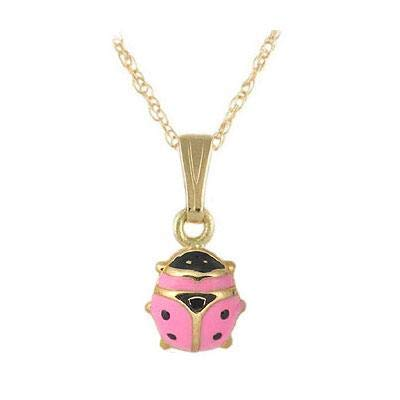 (Children 14K Yellow Gold Pink Enamel Ladybug Pendant Necklace (15 in))