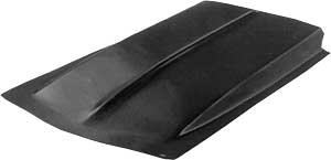 Harwood 1111: Hood Scoop, Cowl Induction, 53 in. Long, 28 in. Wide, 2 in. Tall, Fiberglass, Black Gelcoat, Each