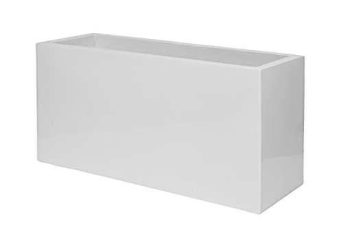 "Elegant Modern White Rectangular Jort Indoor Outdoor Planter Pot – 20""H x 16""W x 39""L - Flower Planters By Pottery Pots"