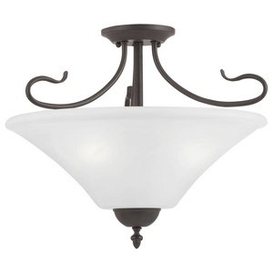 Philips Lighting Sl8253-63 Elipse Three-Light Convertible Semi-Flush/Pendant, Painted Bronze