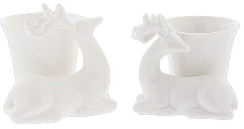 Lucky Winner Elegant White Deer Candle Holders - Set of 2 Assorted, Ceramic by Lucky Winner