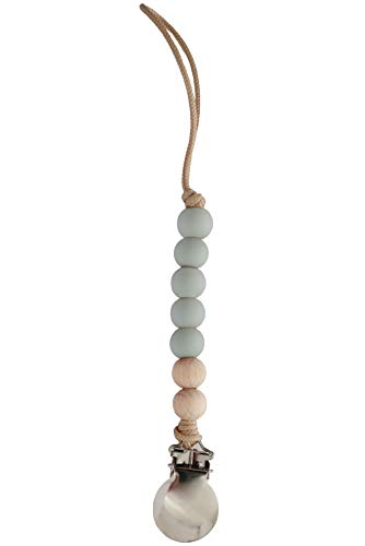 Grey Baby Pacifier Clip Holder | Handmade in The USA | Joy (Baby Blue/Wood) ()