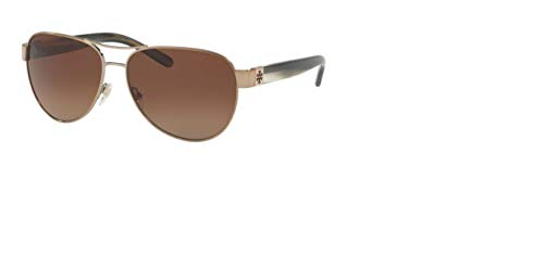 Tory Burch Women's 0TY6051 Light Gold/Olive Horn/Brown Gradient Polarized