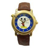 Lorus Musical Disney Mickey Mouse Watch with Gold Tone Case & Leather Band