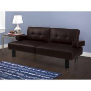 Brown Connectrix Faux Leather Futon, Contemporary Style, Tufted, Faux Leather Upholstery with Detail Stitching, Adjustable Armrests with Built-in Cup Holders, BONUS FREE E-Book price
