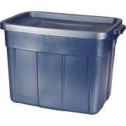 Rubbermaid Roughneck Storage Box, 18 gal, Dark Indigo Metallic, 12/Carton