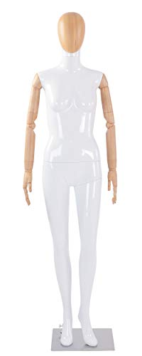 Female Glossy White Plastic Mannequin with Wood Head and Arms (Posable) by SSWBasics (Image #1)