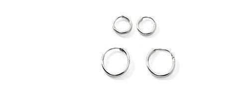 Two Pair Sterling Silver Small Endless Hoop Earrings for Cartilage, Nose or Lips, 10mm (Sterling Silver Small Endless Hoop)
