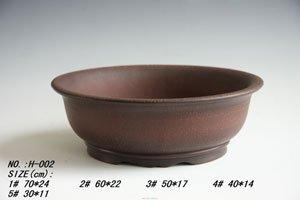 "Unglazed Zisha Bonsai Tree Round Pot:15.5""(l)"