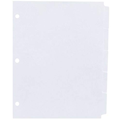AMZfiling Never-Jam Custom Blank Copier Tabs- 5 Tab Dividers, White, 1/5 Cut, Reverse Collated, 3 Hole Punched (1000/Carton)