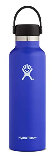Hydro Flask 21 oz Water Bottle - Stainless Steel & Vacuum Insulated - Standard Mouth with Leak Proof Flex Cap - Blueberry