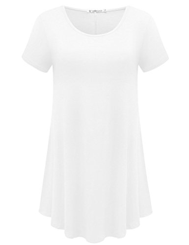 JollieLovin Women's Short Sleeve Loose Fit Flare Hem T Shirt Tunic Top (White, 2X)