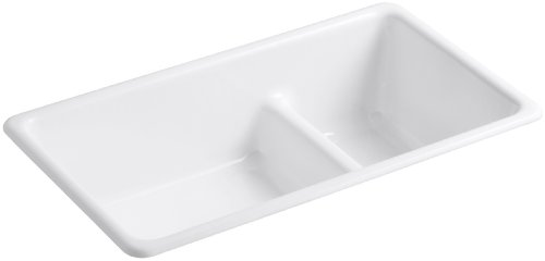KOHLER K-6625-0 Iron/Tones Smart Divide Self-Rimming or Undercounter Kitchen Sink, White - Smart Divide Undercounter Kitchen Sink