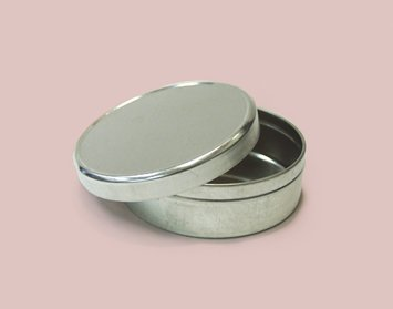 Qty. of 200 2 oz. Flat Tin Containers Body and lid assembled by Buckeye Shapeform