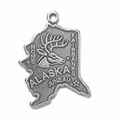 - Sterling Silver Alaska State Charm with Split Ring