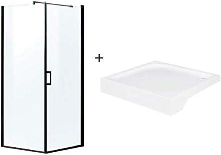 Mampara de ducha esquinera negra 80 x 80 x 190 cm con plato de ...