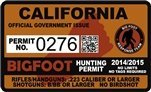 "California Bigfoot Hunting Permit 2.4"" x 4"" Decal Sticker"