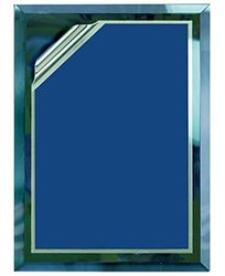 9 x 12 Blue Mirror Plaque Engraved with 7 x 10 Blue Rolled Plate by Gino's Awards Inc