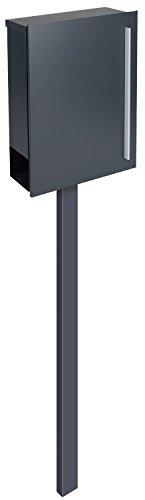 Design-Standbriefkasten + Zeitungsfach anthrazitgrau (RAL 7016) MOCAVI SBox 110b mit Pfosten (einbetonieren)