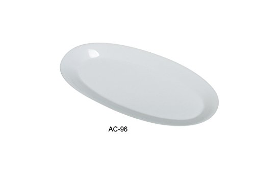Yanco Abco Collection Elegant Porcelain Platter in Super White 16'' * 7 3/4'' * 1 1/4'' Box of 12 by Yanco