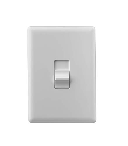 Home Automation Lighting, ZWAVE Plus Smart Switch by Ecolink, Lighting Switch Control, White Single Toggle Style Light Switch Design (PN - STLS2-ZWAVE5)