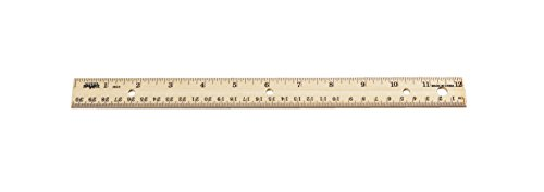 School Smart Double Beveled Edge Wood Ruler - inch and Metric with (3) Hole Punched for Binder, 12 in L, Pack of (Double Beveled Edge Ruler)