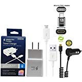 Official OEM Samsung Adaptive Fast Charging Charger - With EZ TIP Fast Car Charger + C TYPE Adapter - for Galaxy S6/S7/S8/S9/Edge/+/Note5/Note8 (US Retail Packing Kit) ()