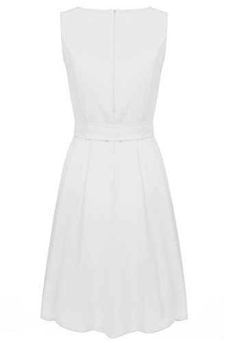 (ジアグー)Zeagoo レディース ワンピース ドレス Aライン ノースリーブ リボンベルト付 シフォン 結婚式 パーティードレス 大きいサイズ対応