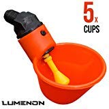 Drinker Cups for Backyard Chicken Flock Automatic Poultry Watering System (5 cups) by Lumenon