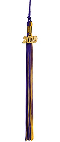 GraduationMall Purple/Gold Graduation Tassel with 2019 Year Charm 9