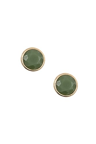 Karmas Canvas Round Faceted Stone Stud Earring (Olive)