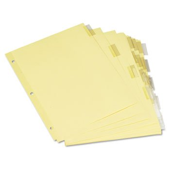Universal 21871 Economical Insertable Index, Clear Tabs, 5-Tab, Letter, Buff, 6 Sets/Pack