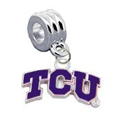 TCU Horned Frogs Texas Christian Charm with Connector - Universal European Slide On Charm -