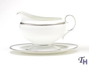 Noritake Rochelle Platinum 2-Piece Gravy Boat with Tray, 16-ounce