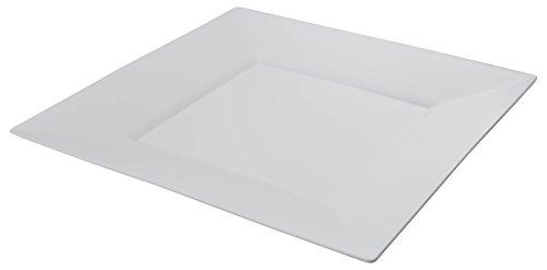 Exquisite 9.5 Inch. White Square Premium Plastic Plates - 40 Count - China Like (Square Plastic Plates)