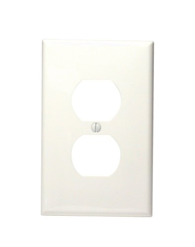 Leviton PJ8-W 1-Gang Duplex Device Receptacle Wallplate, Midway Size, Thermoplastic Nylon, Device Mount, White