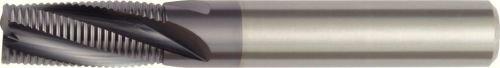 WIDIA Hanita 490606002RT 4906 HP Roughing End Mill, 0.3 mm Chamfer, 6 mm Cutting Diameter, Carbide, TiAlN Coating, RH Cut, Straight Shank, 3-Flute