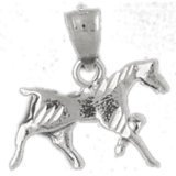 CleverEve 14K White Gold Pendant 3-D Horse 1.4 Grams