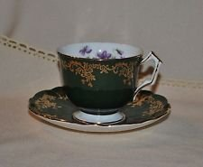 Vintage Aynsley England Fine English Bone China Green & Gold Gilt Tea Cup and Saucer Set