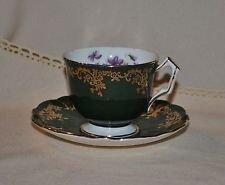 Vintage Aynsley England Fine English Bone China Green & Gold Gilt Tea Cup and Saucer (Vintage Aynsley Bone China)