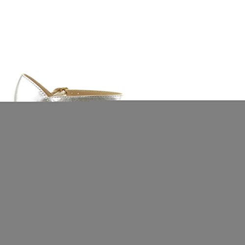 Sopily Tobillo de Talón mujer Tacón Zapatillas Moda de Tacón plantilla Plata 5 alto fishnet aguja abierto CM escarpín sintético YwHYF