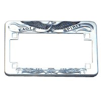 heavy chrome silver eagle license plate frame for motorcycles