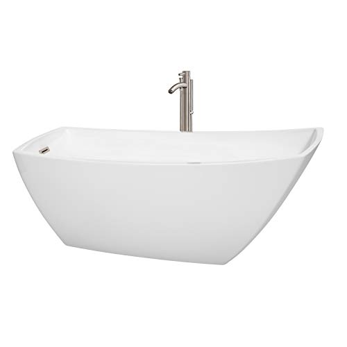 Wyndham Collection WCBTK153367ATP11BN Antigua Freestanding Bathtub with Floor Mounted Faucet in Brushed Nickel 67
