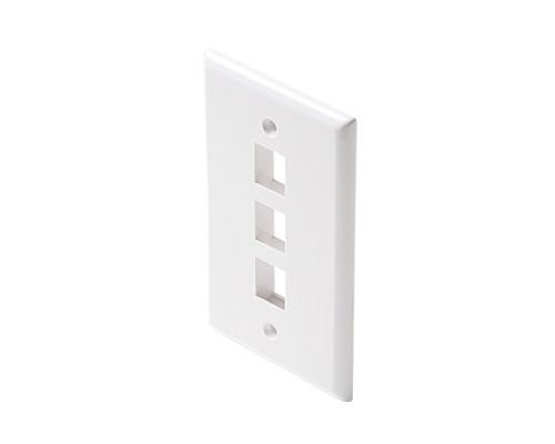 Black Point Products BT-201 White Cat-5 3 Cavity Keystone Wall Plate, White