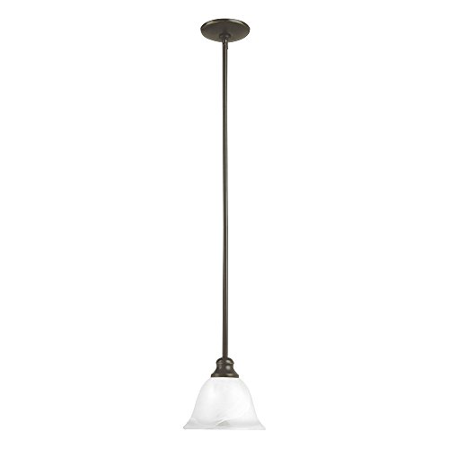 Sea Gull Lighting 61940-782 Windgate One-Light Mini-Pendant with Alabaster Glass Shade, Heirloom Bronze ()
