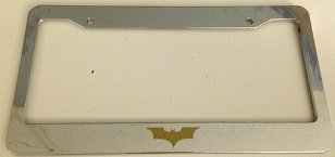 Batman Dark Knight Version - Chrome with Gold Automotive License Plate Frame - Super Hero Dark Knight